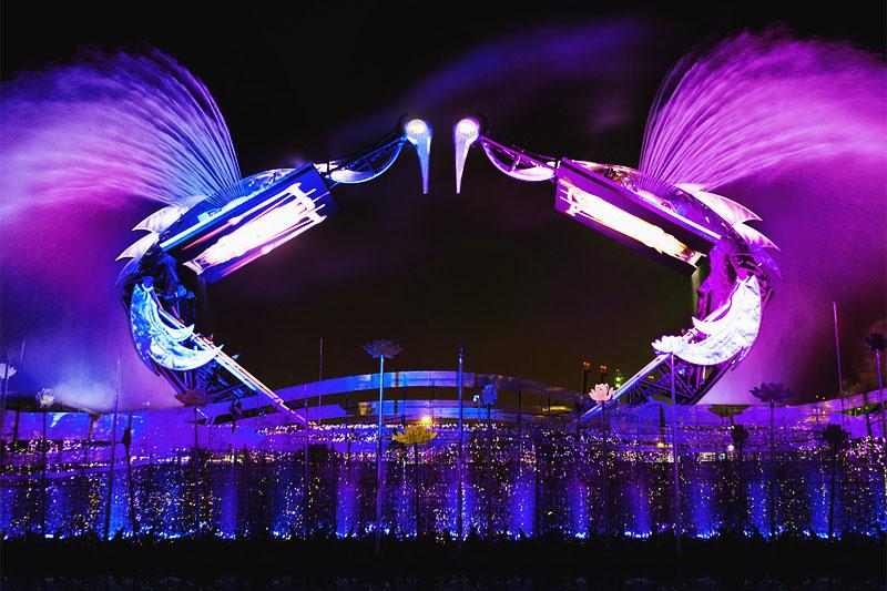 Лазерное шоу Танец журавлей на Сентозе