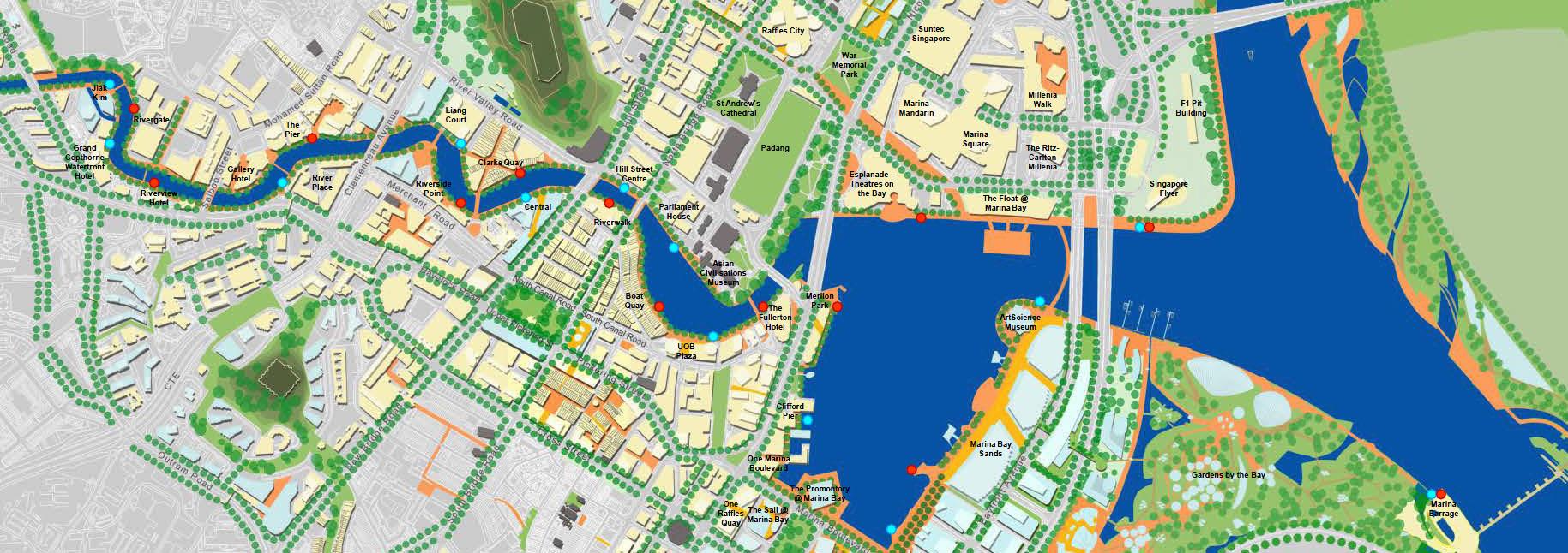 Карта причалов Сингапур речное сафари