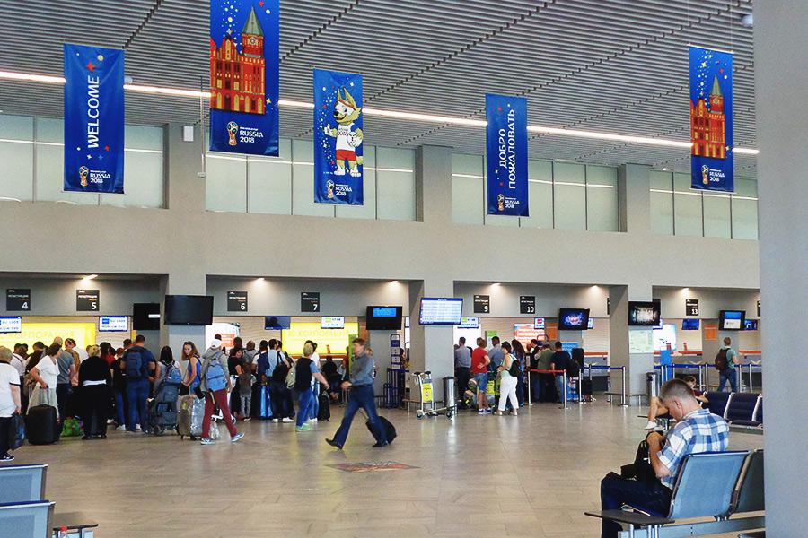 Табло расписание в аэропорту Калининграда